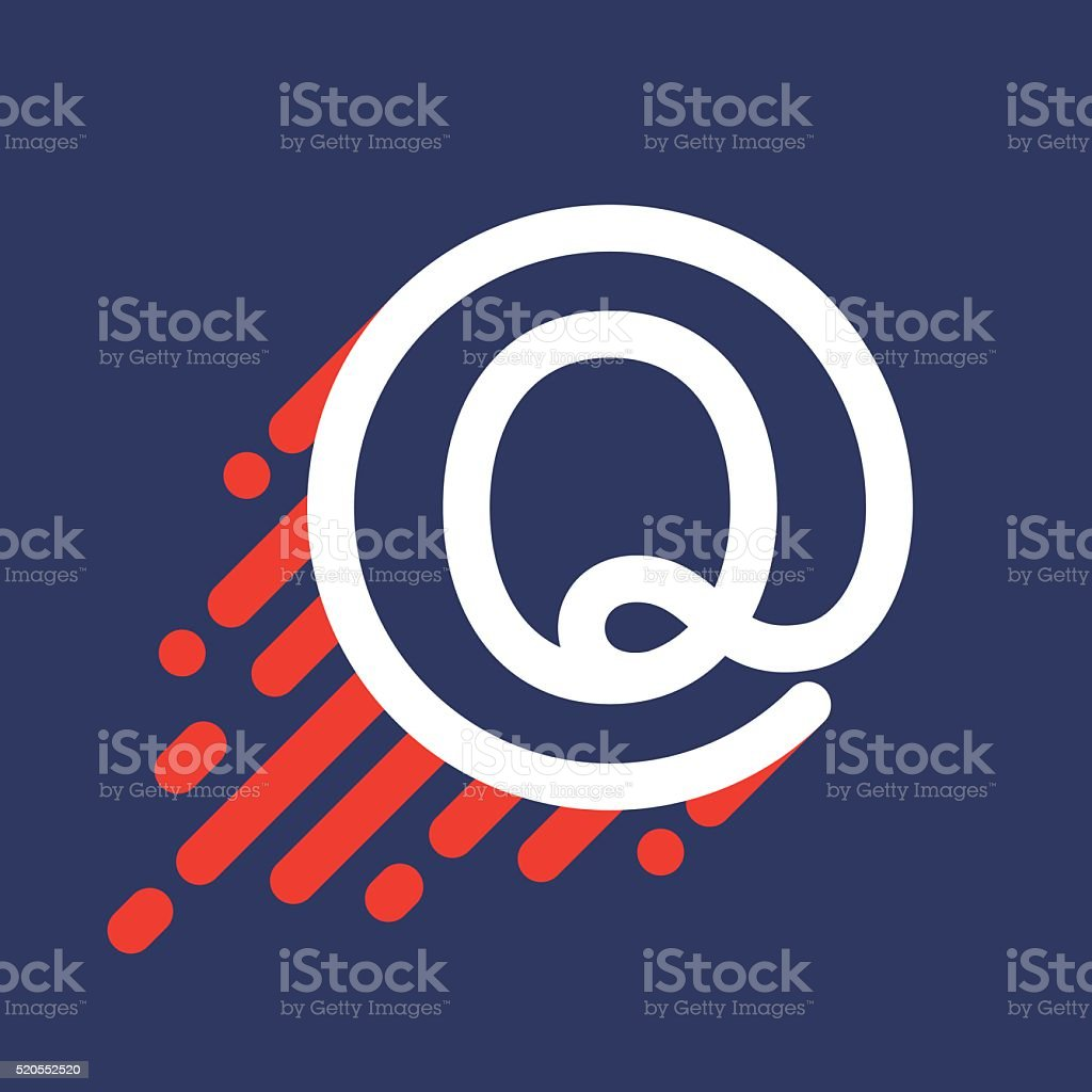 Q letter icon in circle with speed line. vector art illustration
