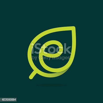E letter icon in green leaf.