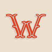 W letter icon in sport team university style.