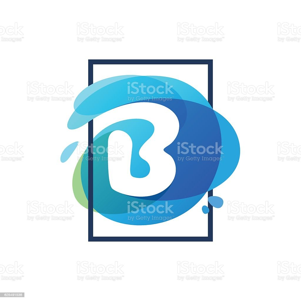 B letter icon in square frame at blue watercolor splash vector art illustration
