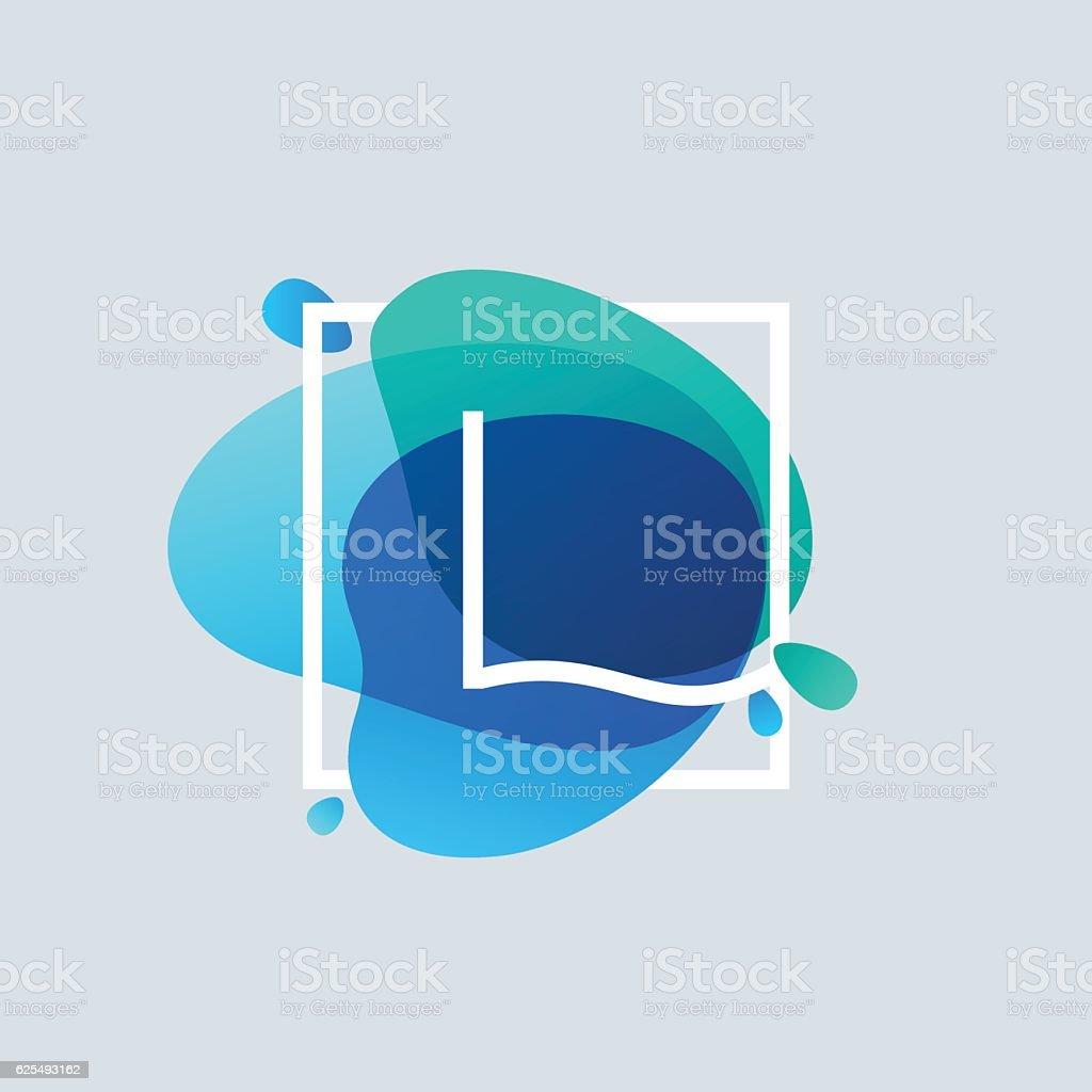 L letter icon in square frame at blue watercolor splash vector art illustration