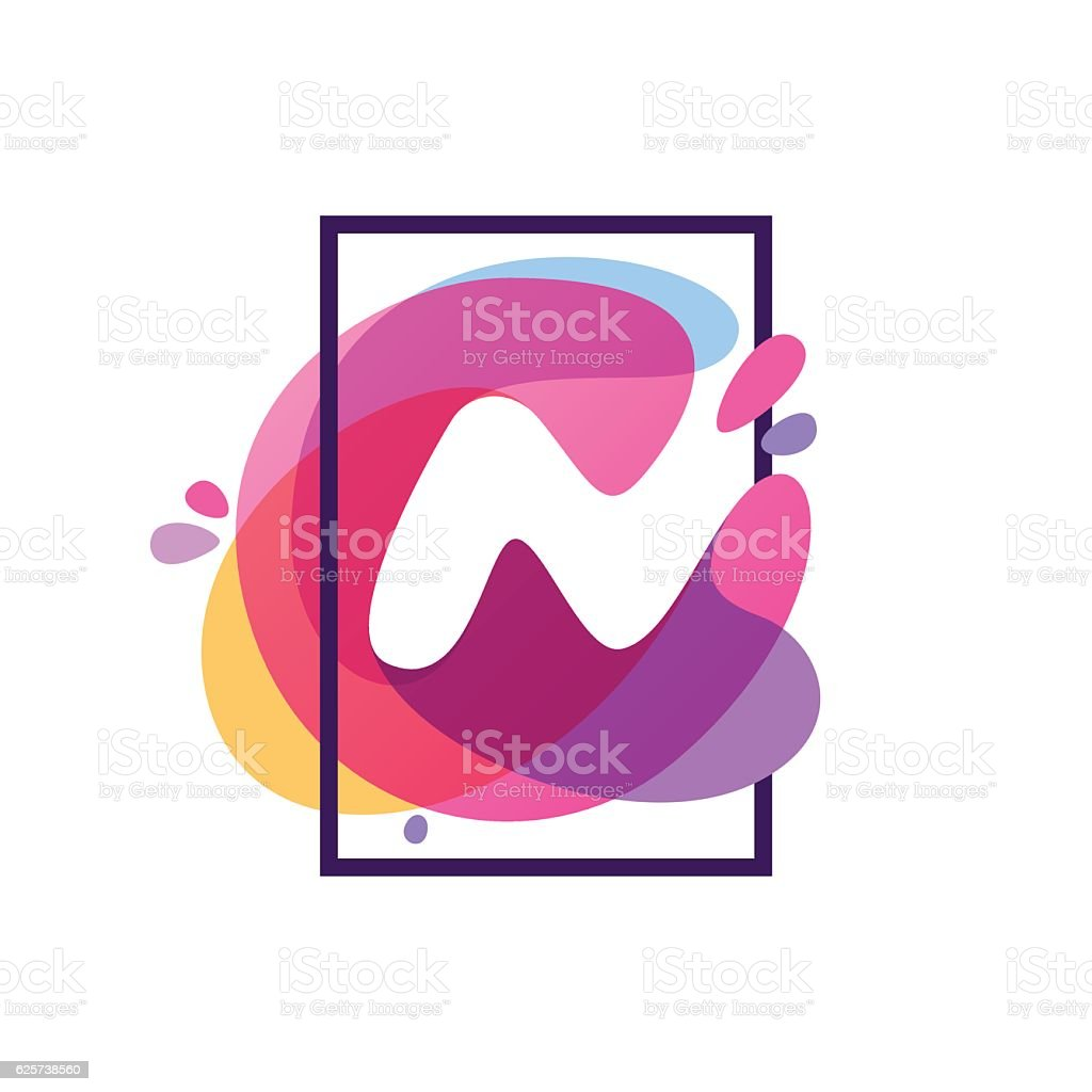 N Letter Icon In Square Frame At Watercolor Splash Background Stock ...