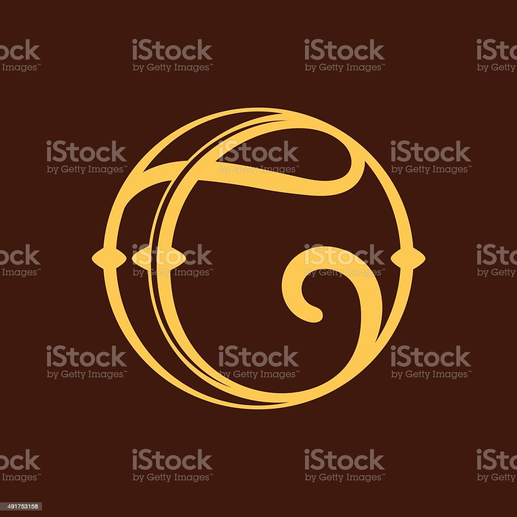 C letter icon in vintage circle. vector art illustration