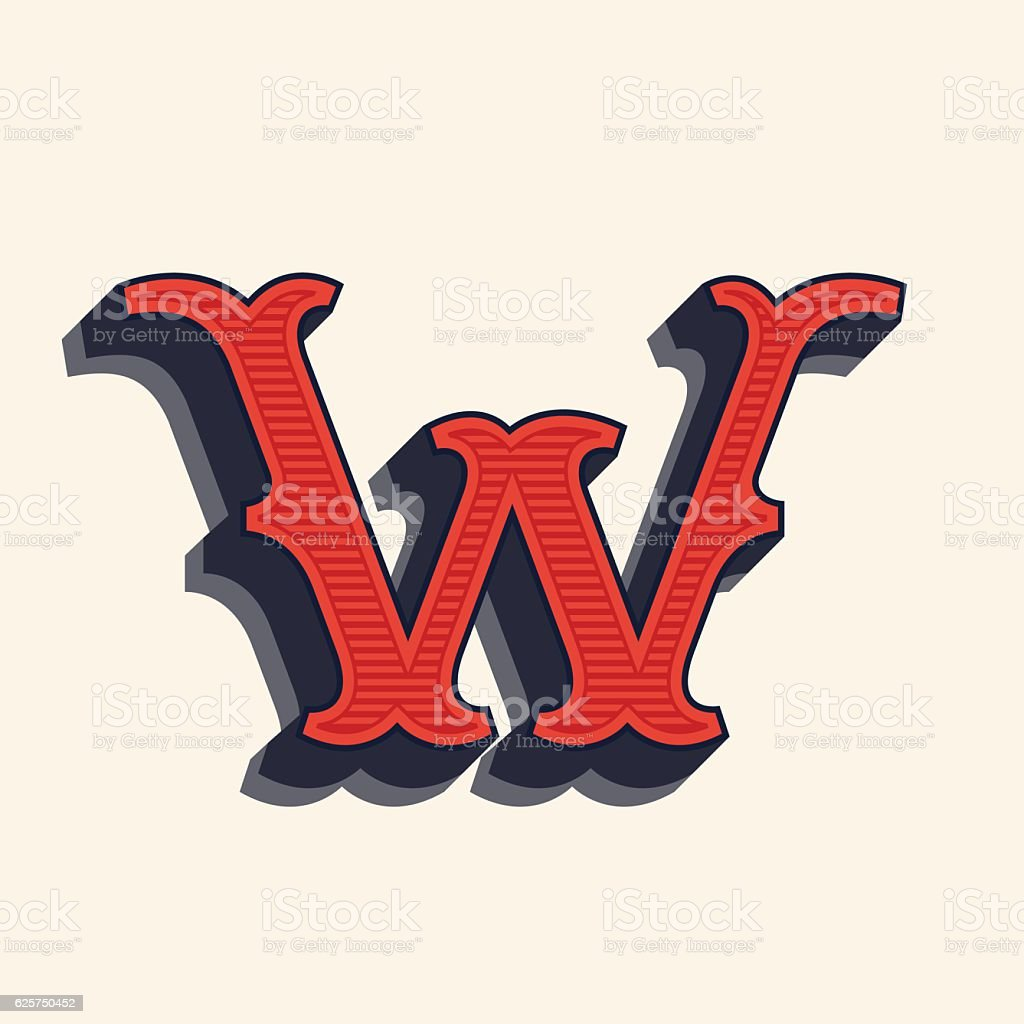 W Letter Icon In Vintage Western Style Royalty Free