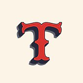 T letter icon in vintage western style.