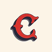 letter icon in vintage western style.