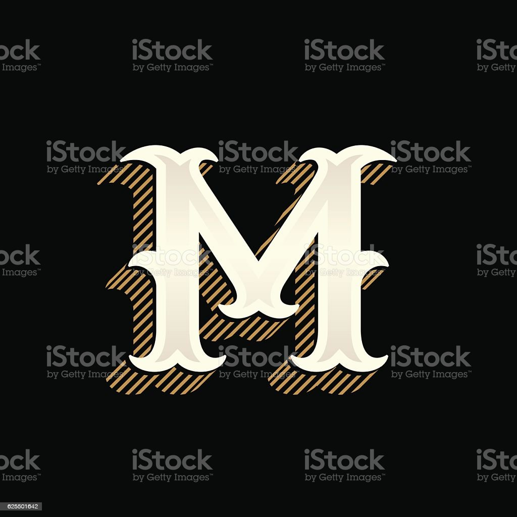 M letter icon in vintage western style with lines shadow. vector art illustration