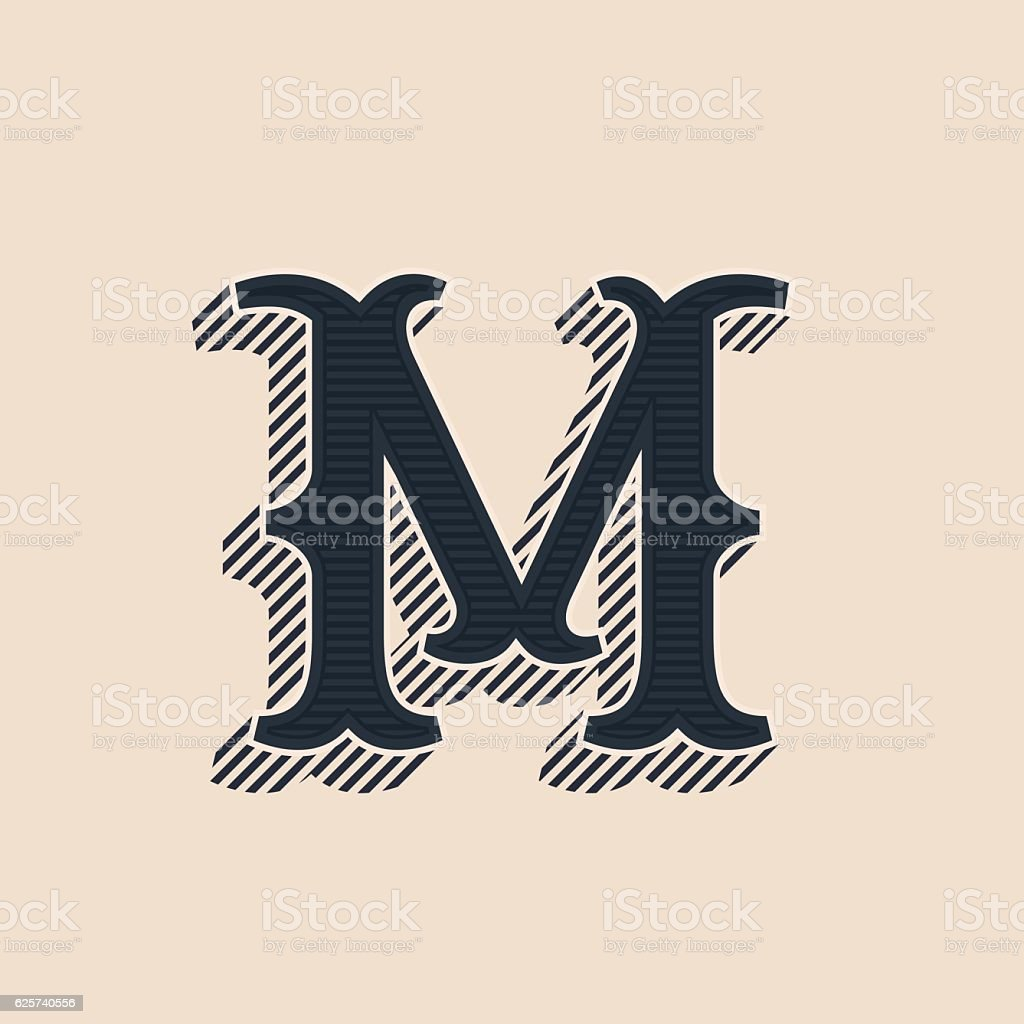 M letter icon in vintage western style with lines shadows. vector art illustration
