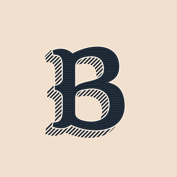 B letter icon in vintage western style with lines shadows. – Vektorgrafik