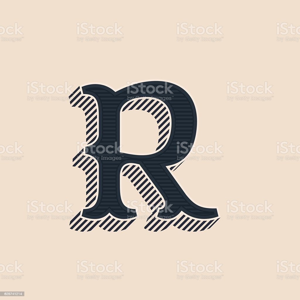 R Letter Icon In Vintage Western Style With Lines Shadows Royalty Free