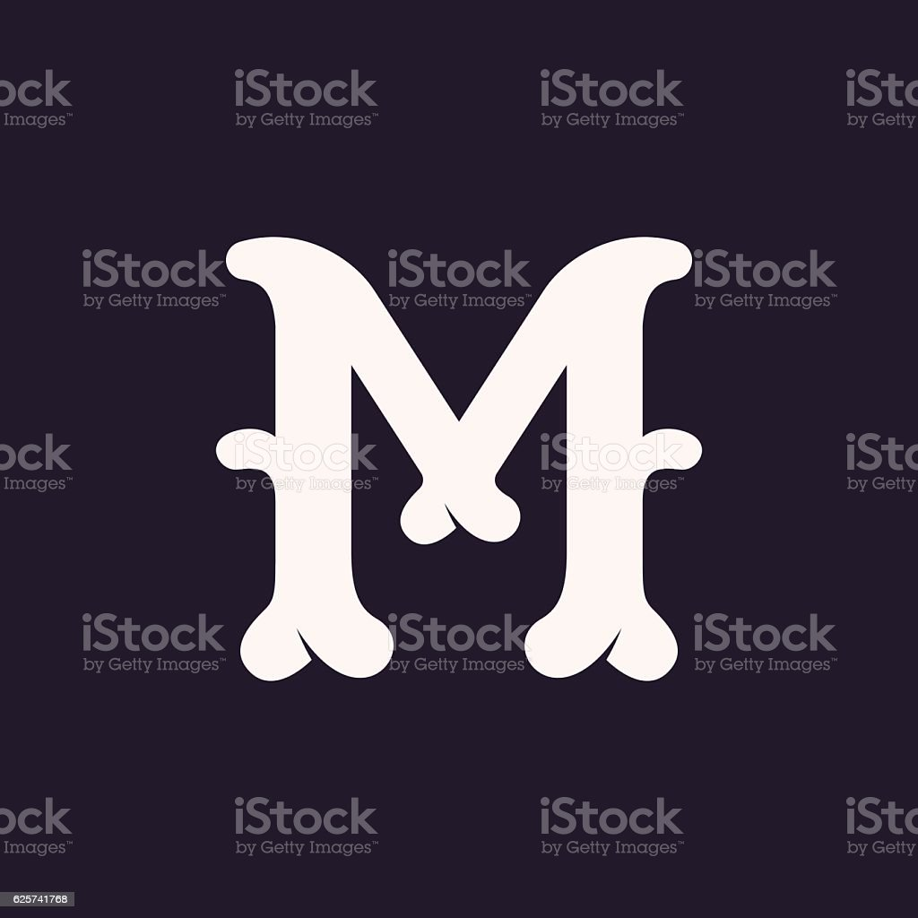 M letter icon made out of bones. vector art illustration