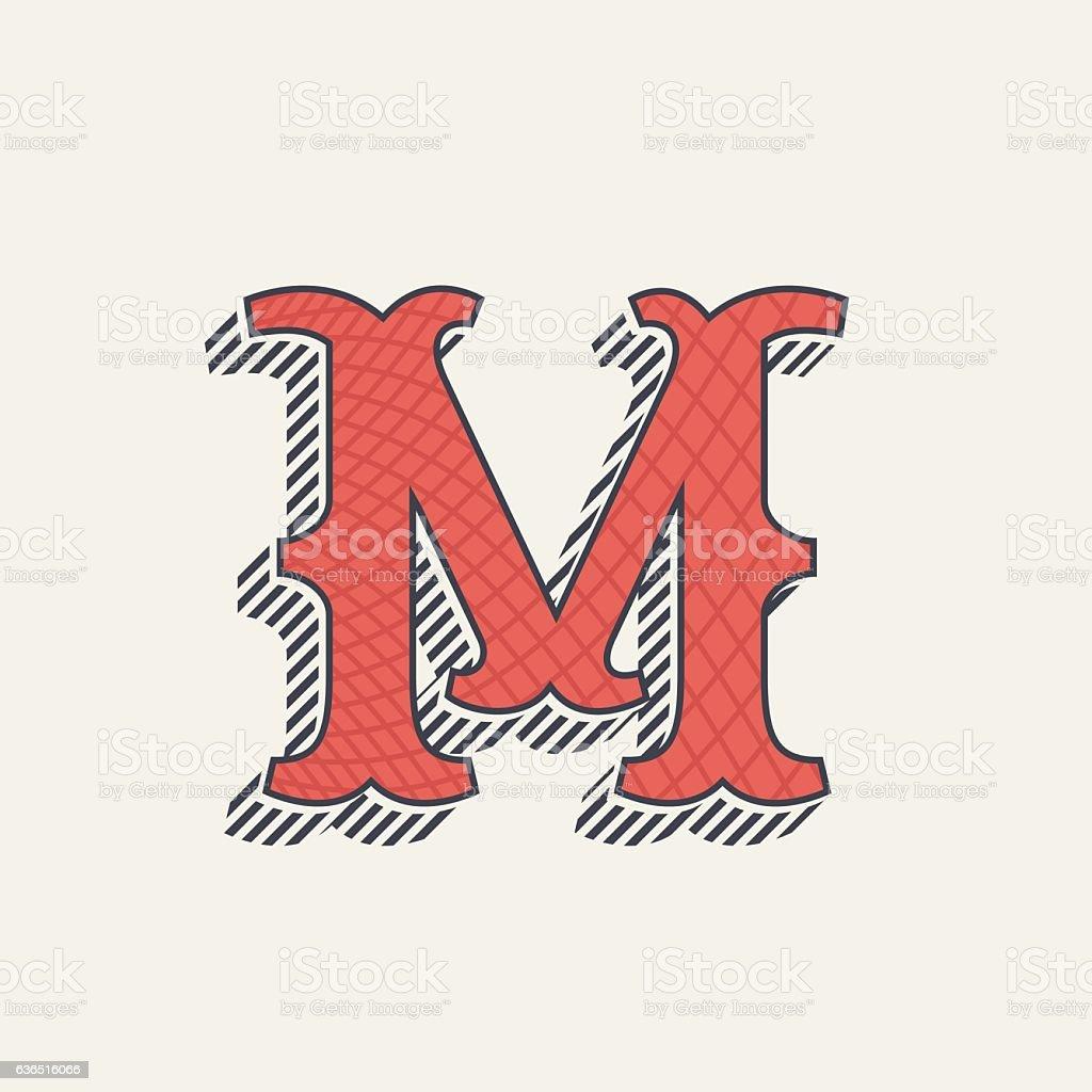 M letter icon. Retro western alphabet with line texture. vector art illustration