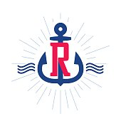 Anchor and rope vector vintage label, logo, icon design template element. This badge can be used as trademark or a print on fabric.
