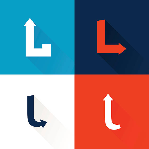 L letter icon with arrows set. Vector design template elements for your application or corporate identity. letter l stock illustrations