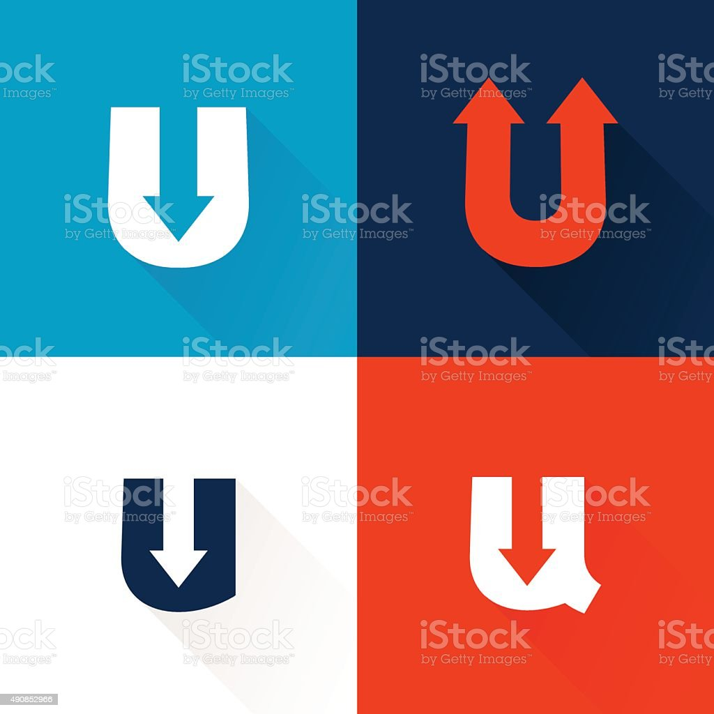 U letter icon with arrows set. vector art illustration