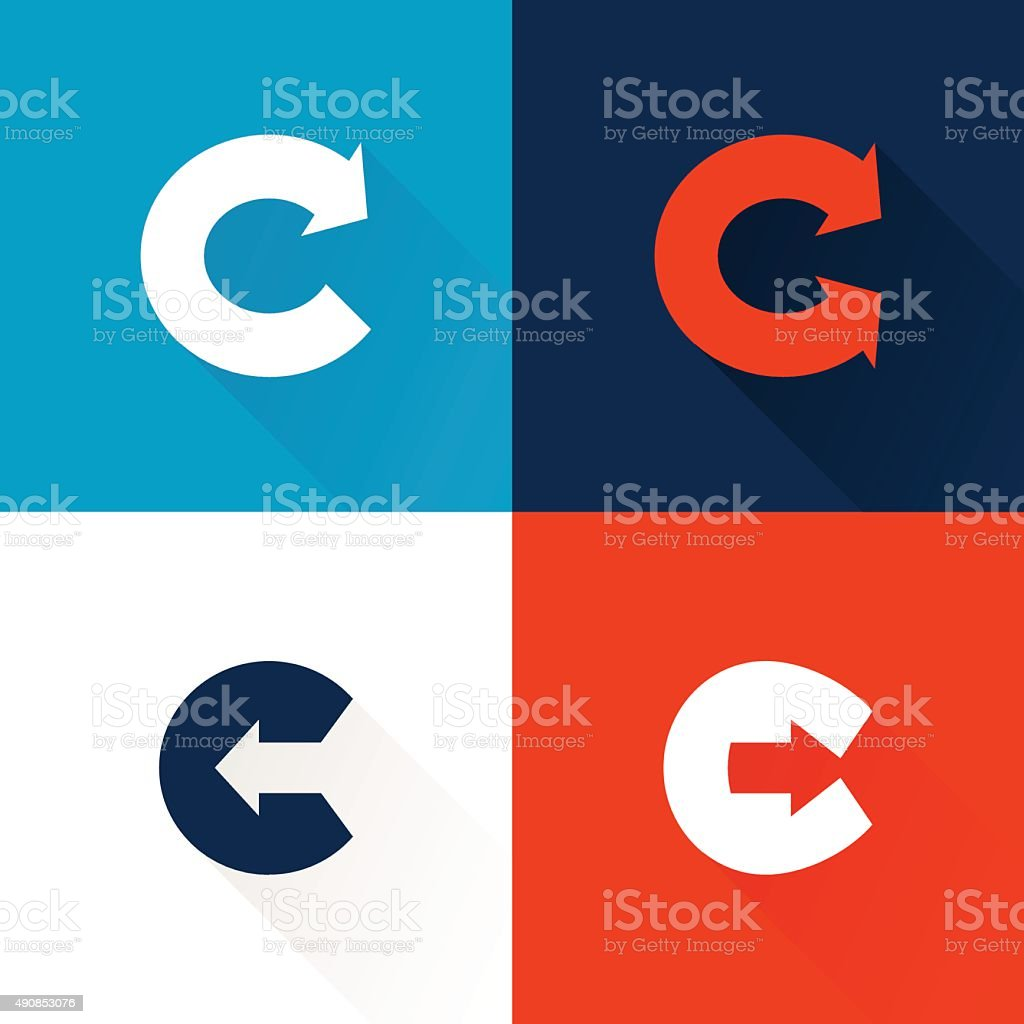 C letter icon with arrows set. vector art illustration