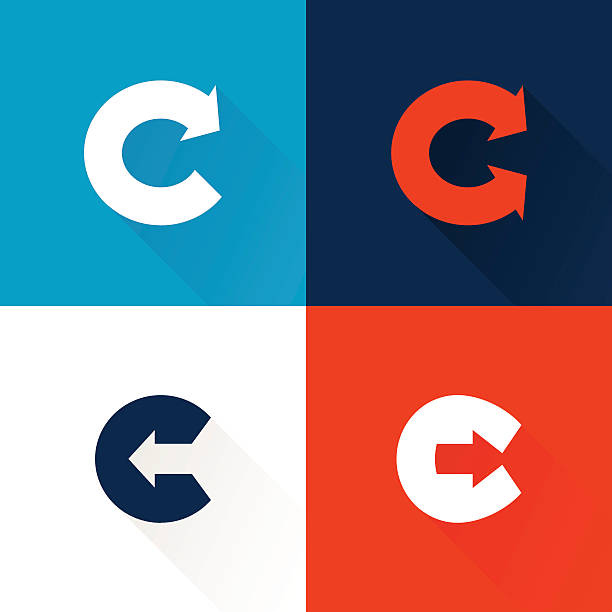 C letter icon with arrows set. Vector design template elements for your application or corporate identity. letter c stock illustrations