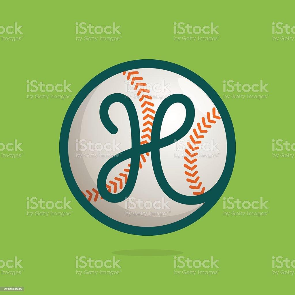 H letter icon with baseball ball. vector art illustration