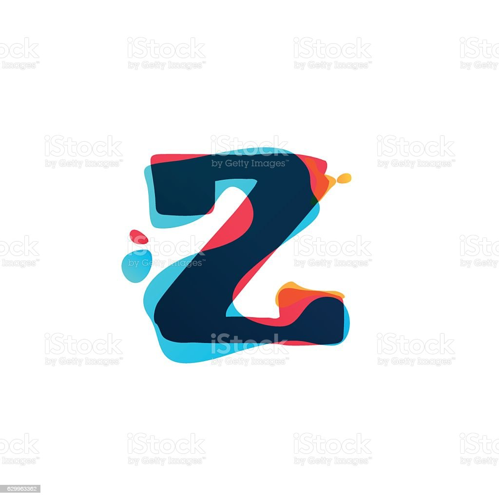 Z letter icon with colorful watercolor splashes. vector art illustration