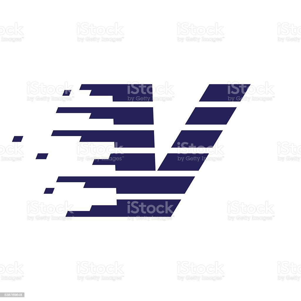 V letter icon with fast speed lines. vector art illustration