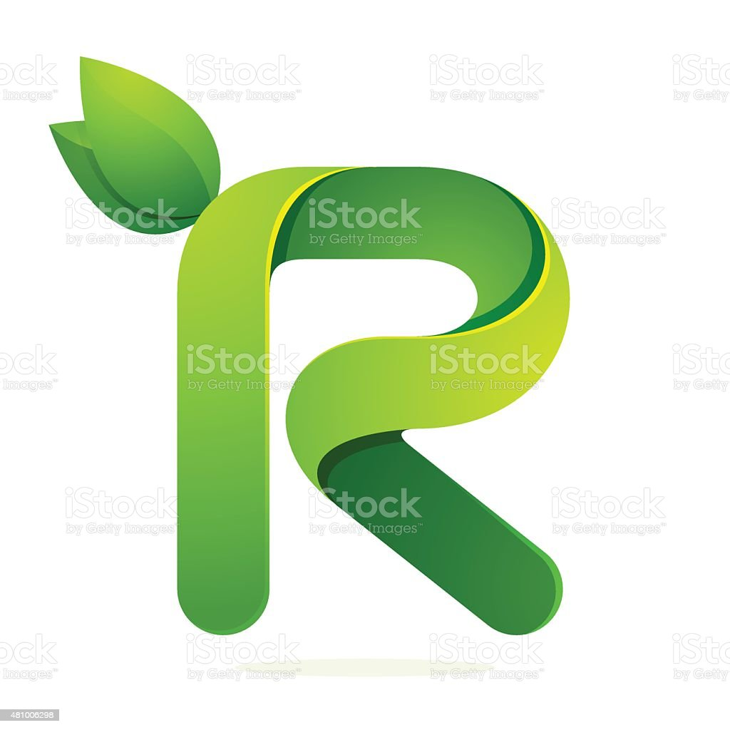 R letter icon with green leaves eco icon, volume icon vector art illustration