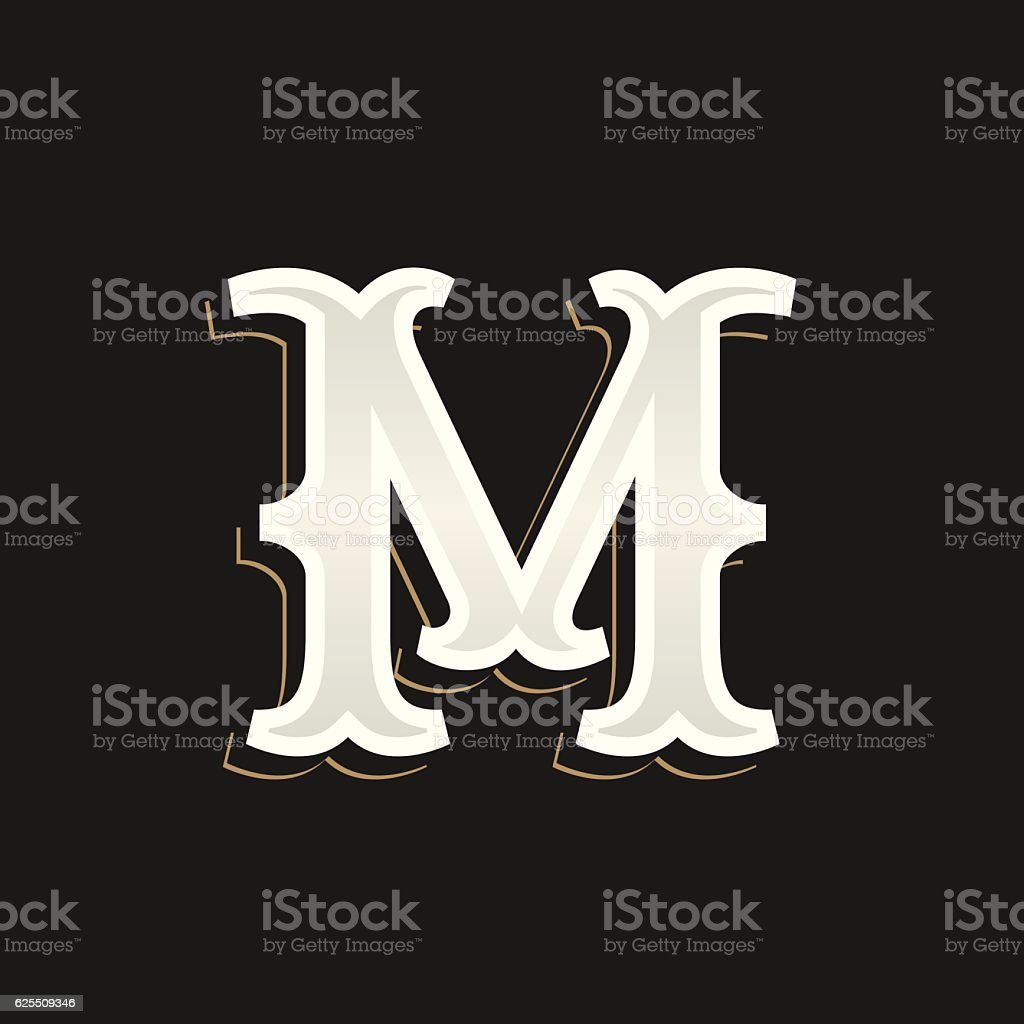 M letter icon with old serif on the dark background. vector art illustration