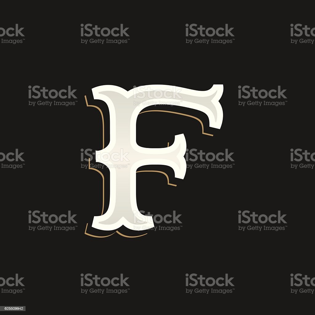 F letter icon with old serif on the dark background. vector art illustration