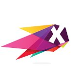 X letter icon with polygonal comet.