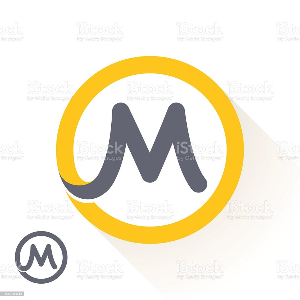 M letter icon with round line icon. vector art illustration