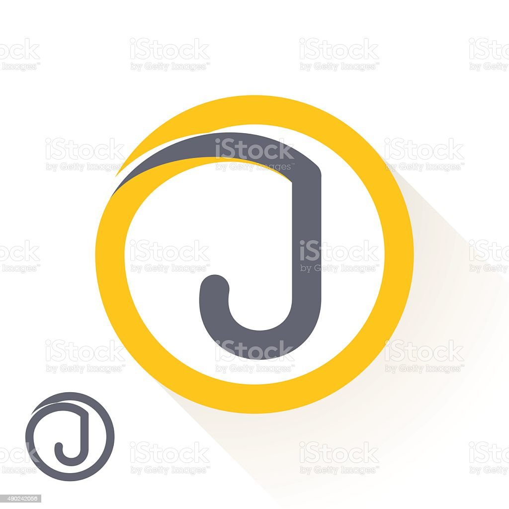 J letter icon with round line icon. vector art illustration