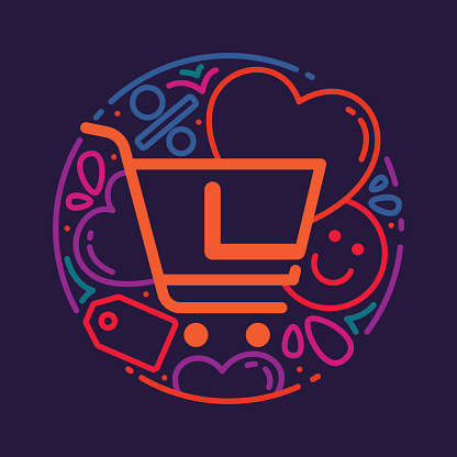 L letter icon with shopping cart icon, hearts and smile.