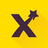 X letter icon with star.