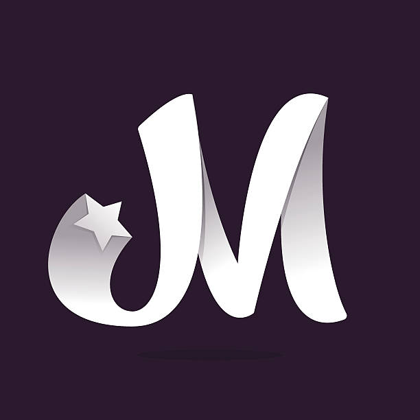 M Letter Icon With Star Vector Art Illustration