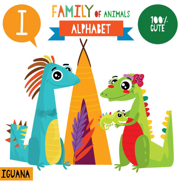 Letter Imega Big Setcute Vector Alphabet With Family Of Animals In
