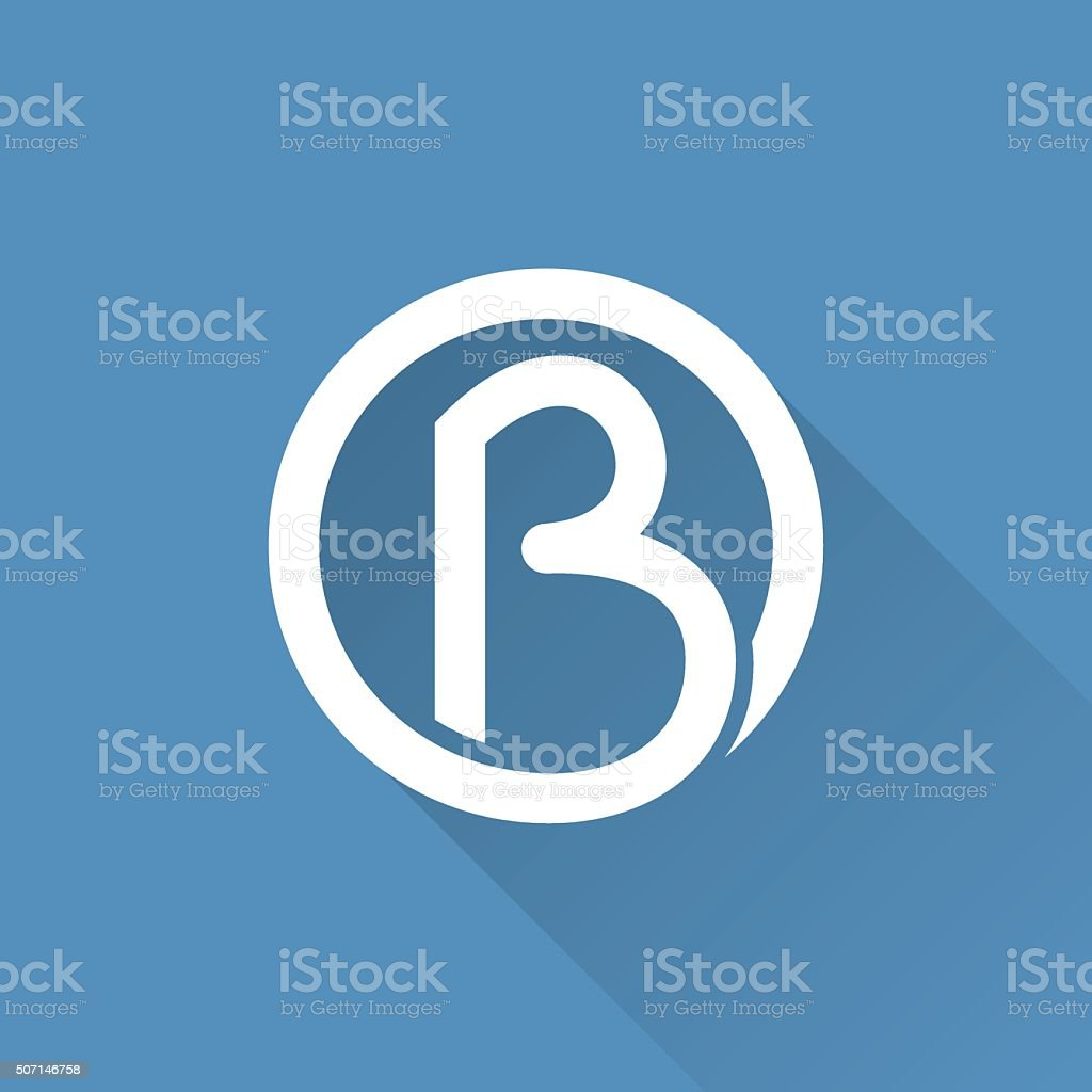 B letter in a circle icon. vector art illustration