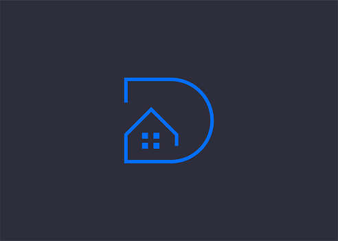 D Letter Initial House Real Estate Logo Design Template. construction, home, real estate, building, property Icon Line Art Vector
