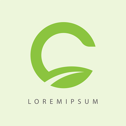 C Letter Initial Shaped Nature Green Leaf Simple Logo Design Template.  C Letter Initial Shaped Nature Leaf Icon Line Art Vector