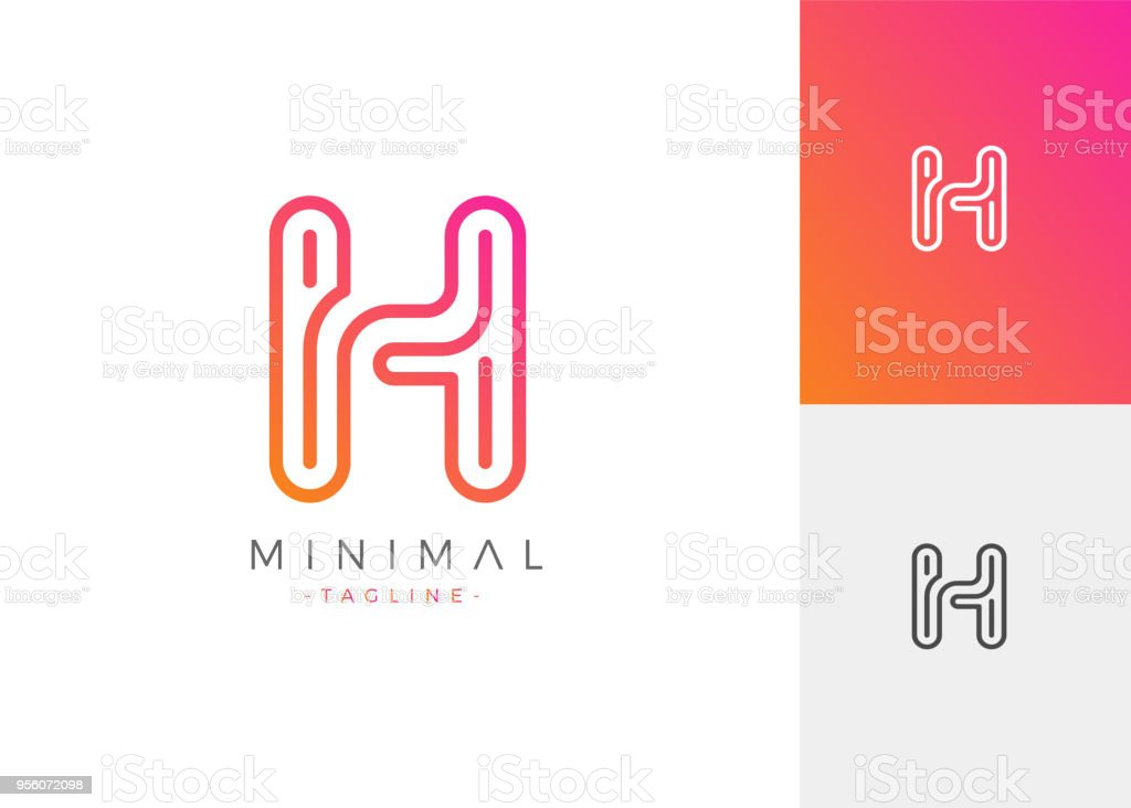h letter initials design template minimal line vector typo illustration royalty free h letter