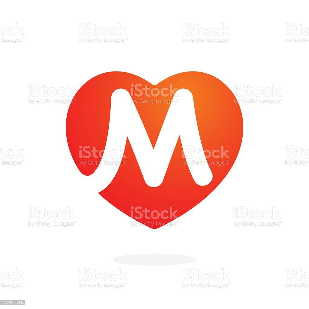 M letter inside heart for st. Valentine's day design. vector art illustration