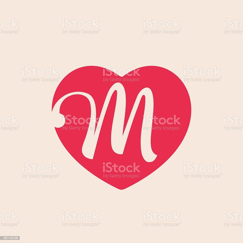 M Letter Inside Heart For St Valentines Day Design Stock Vector Art