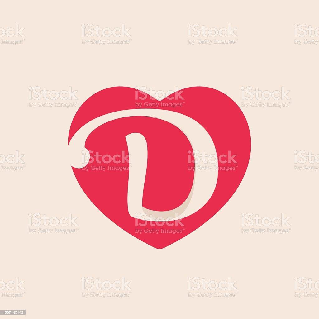 D Letter Inside Heart For St Valentines Day Design Stock Vector Art