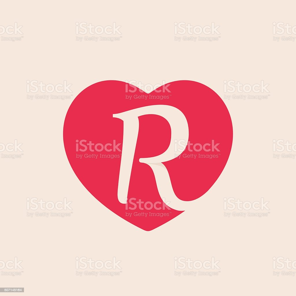 R Letter Inside Heart For St. Valentineu0027s Day Design. Royalty Free Stock  Vector