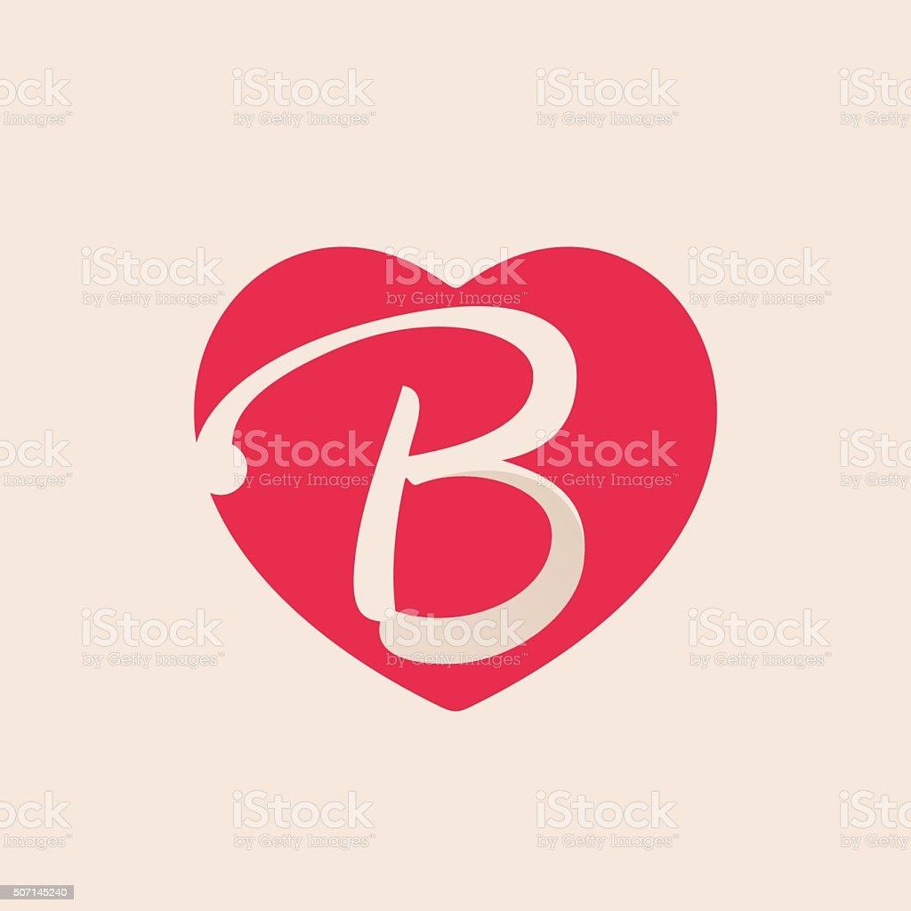 B Letter Inside Heart For St Valentines Day Design Royalty Free