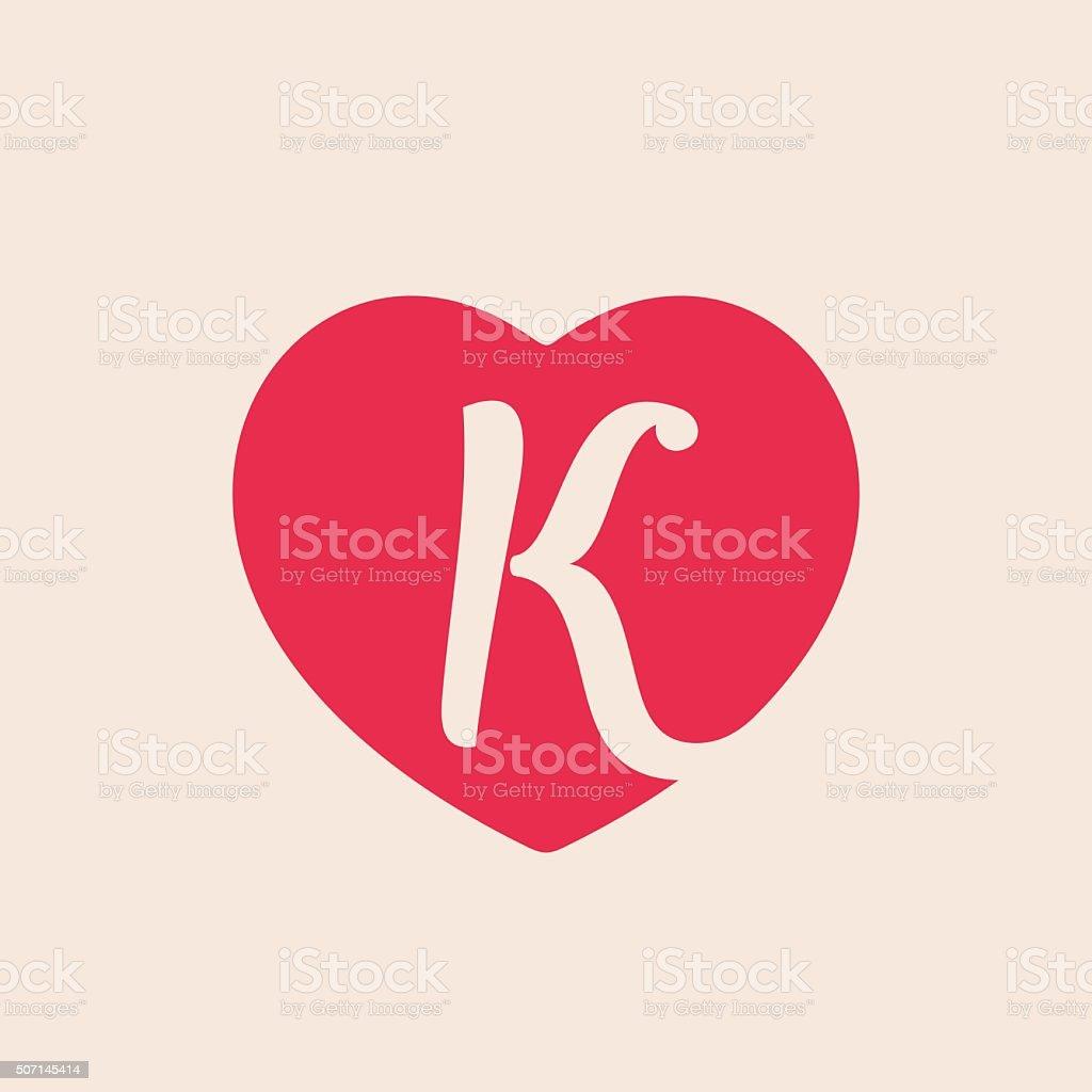 Schön K Buchstaben In Herz Für St. Valentinstag Day Design. Lizenzfreies Vektor  Illustration
