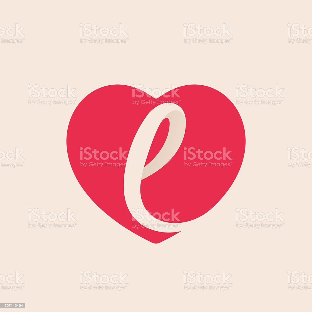 L Letter Inside Heart For St. Valentineu0027s Day Design. Royalty Free Stock  Vector