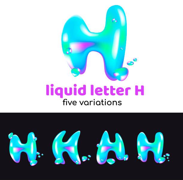 H carta es un símbolo acuático. Líquido letra volumétrica con gotitas y aerosoles para el estilo corporativo de la empresa o marca en la letra H. Juicy, acuoso, holográfico estilo. - ilustración de arte vectorial