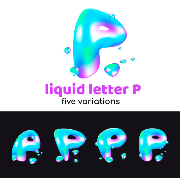 Letra P es un símbolo acuático. Líquido letra volumétrica con gotitas y aerosoles para el estilo corporativo de la empresa o marca en la letra P. Juicy, acuoso, holográfico estilo. - ilustración de arte vectorial