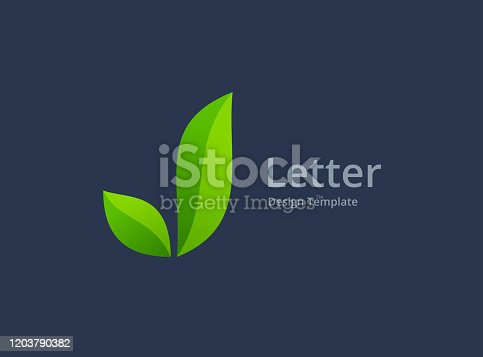 istock Letter J and eco leaves logo icon 1203790382