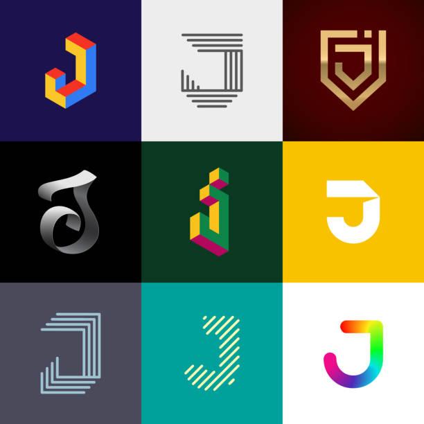 """Letter """"J"""" big logo pack. Letter """"J"""" big logo pack. Creative vector monograms. Eps10 format. letter j stock illustrations"""