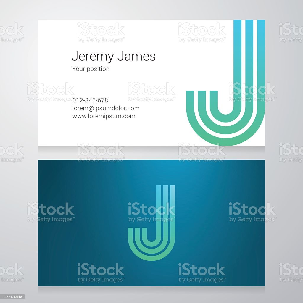 Letter J Business card template vector art illustration